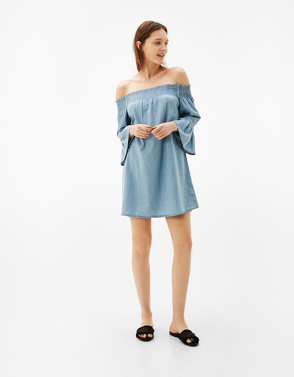 Denim dress with fine ruche detail