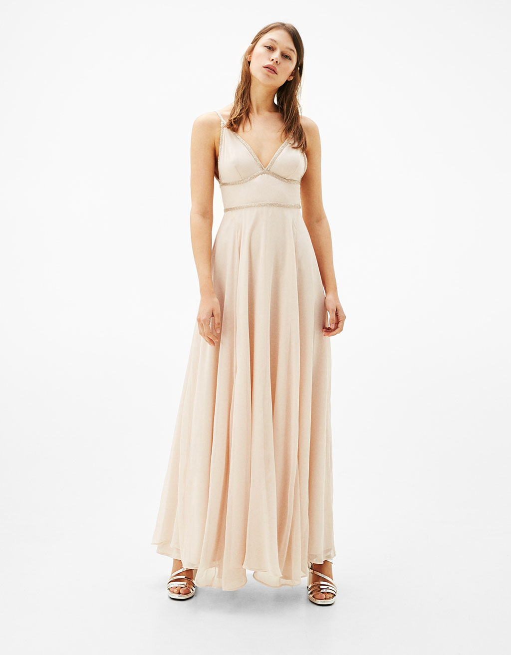Long dress with diamanté neckline