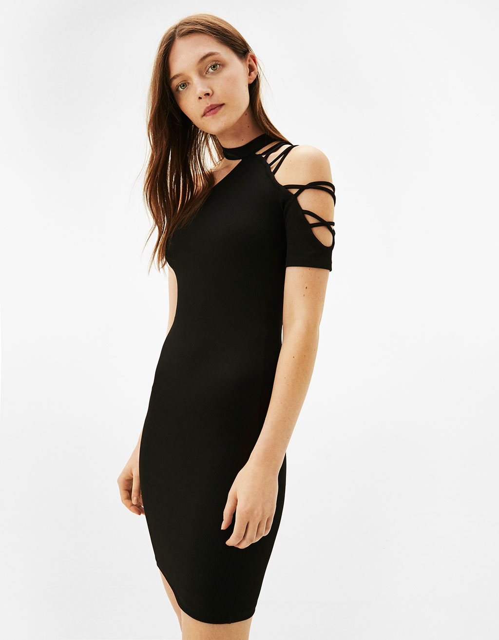 Fitted asymmetric dress with strappy sleeve detail