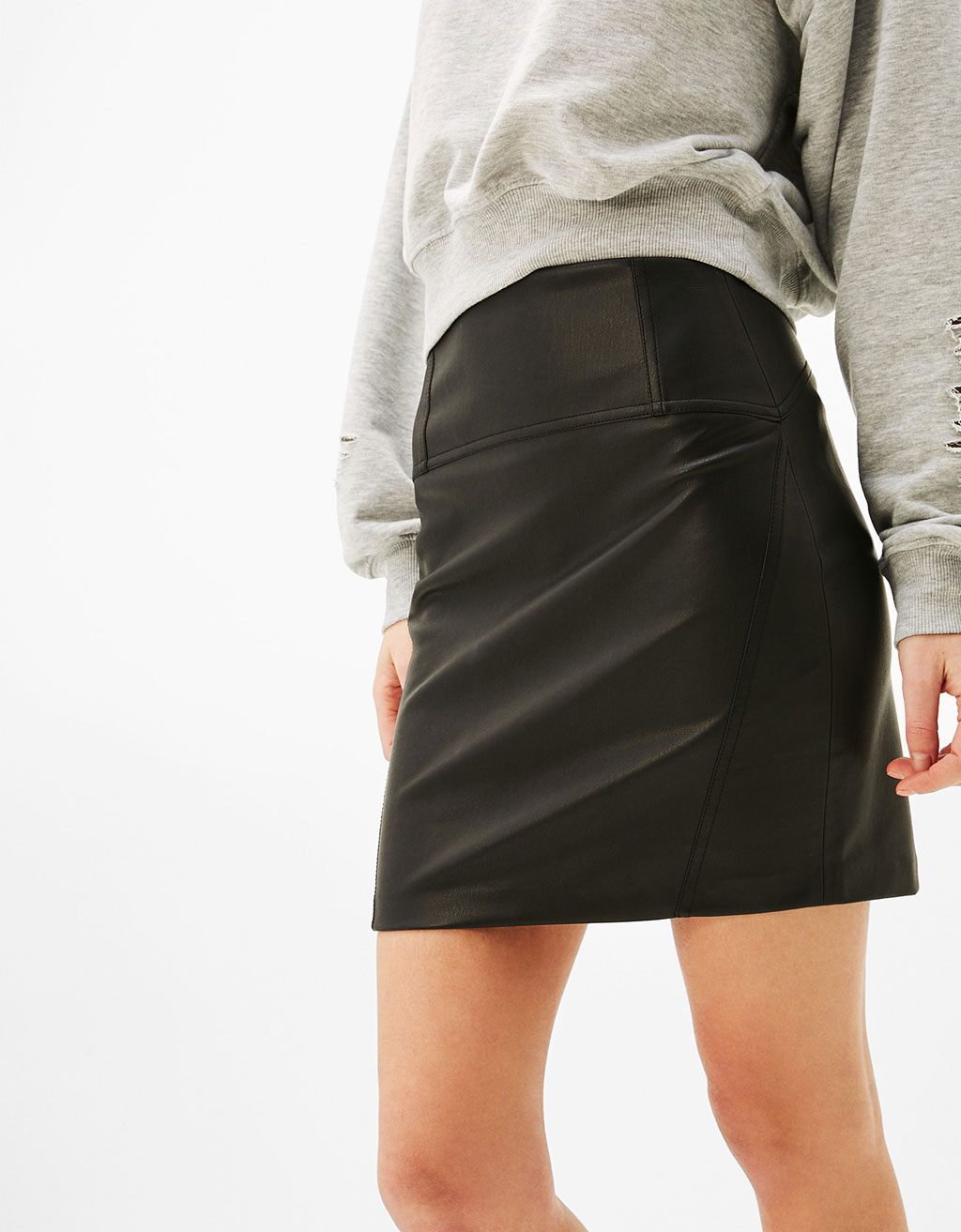 Leather-effect mini skirt