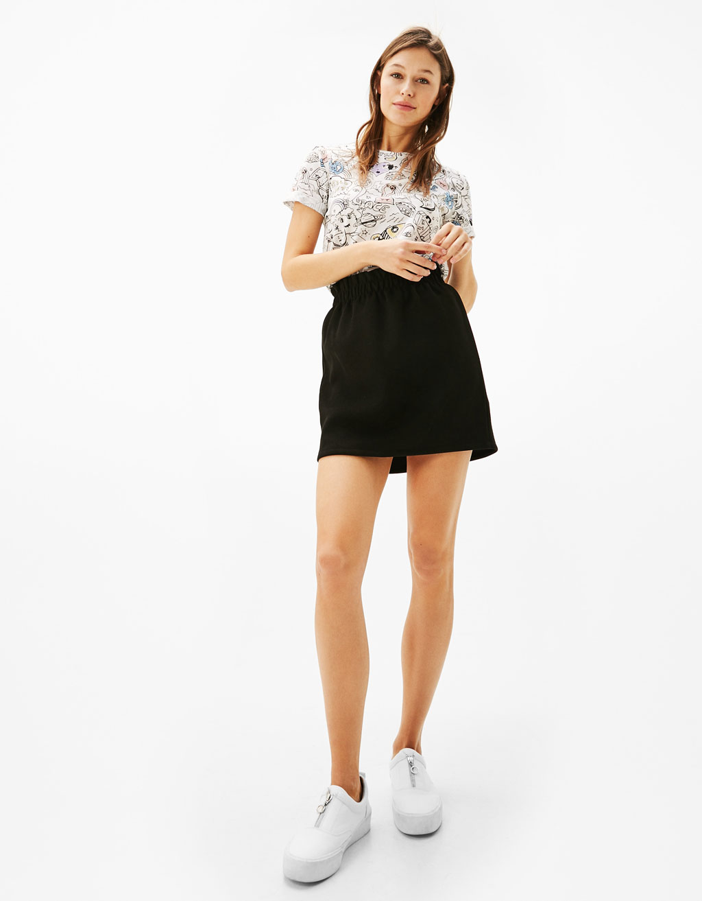 Faux suede skirt with gathered waist