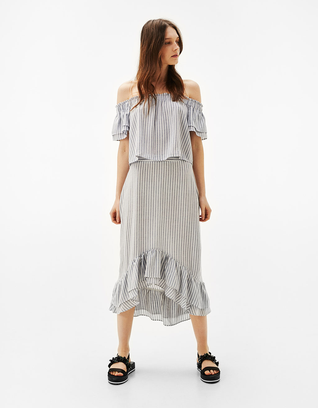 Striped asymmetric skirt with ruffled trimming