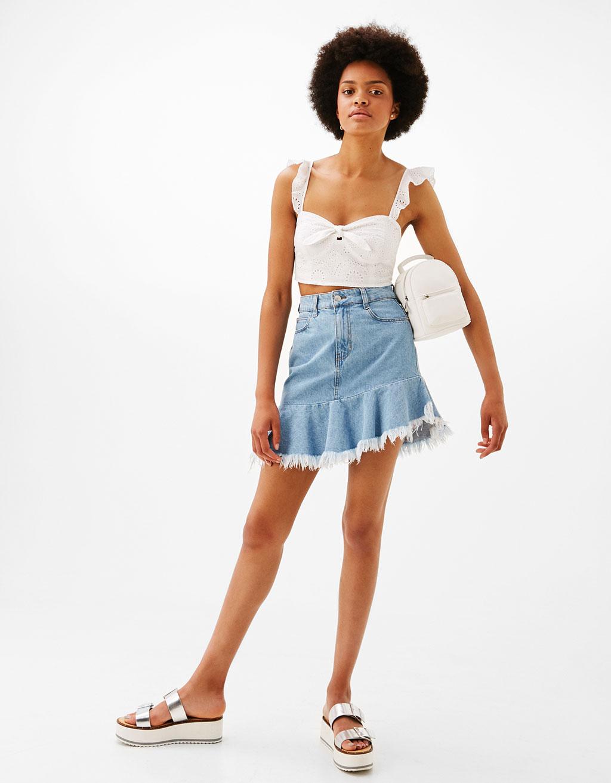 Denim skirt with ruffled hem