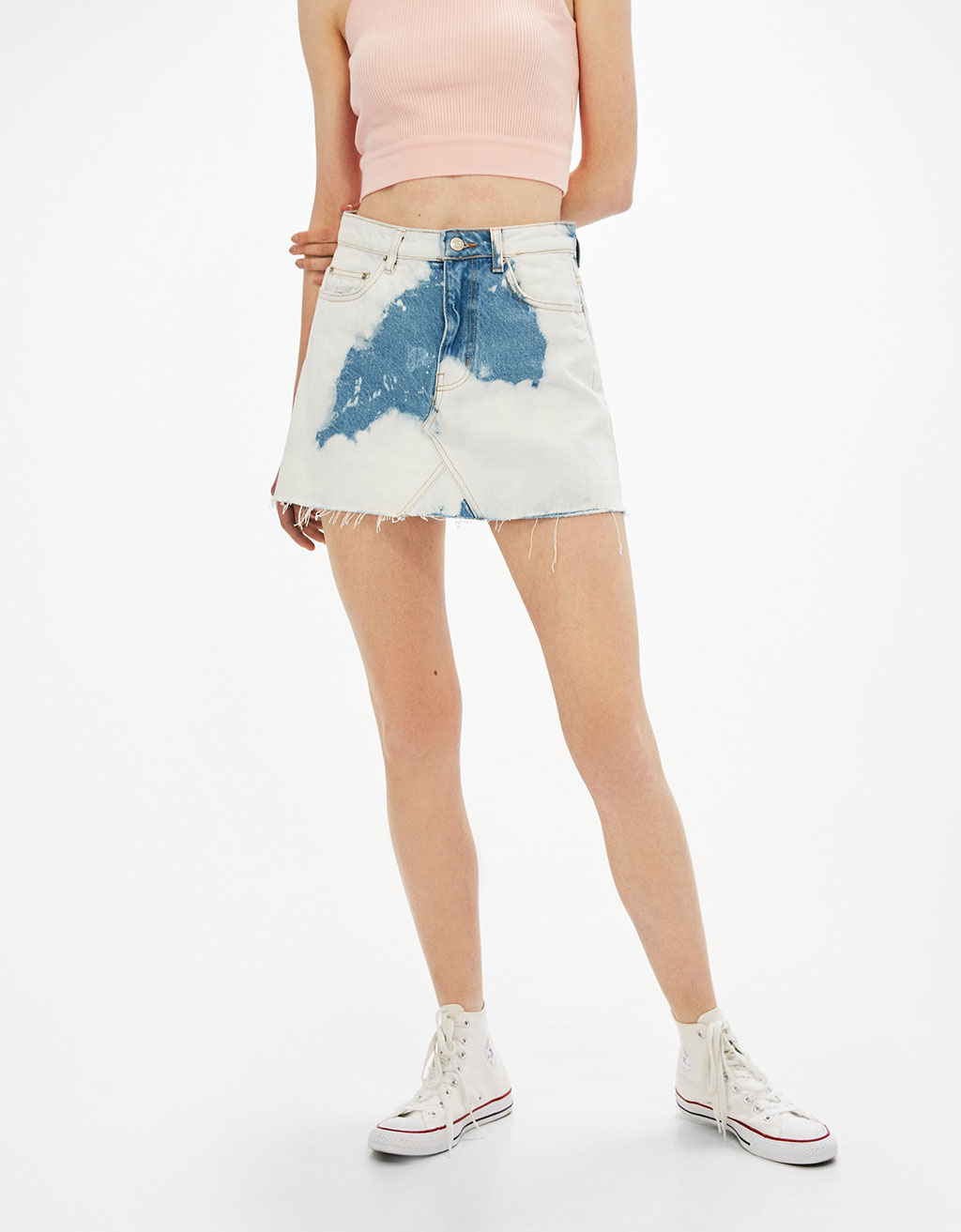 Denim skirt with bleach stains