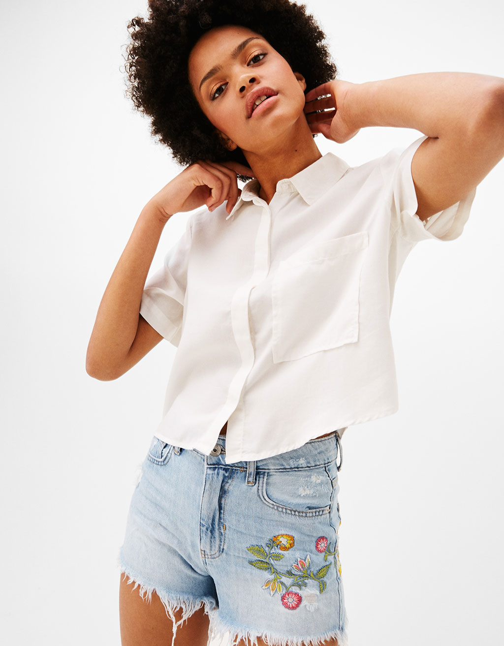 Cropped lyocell shirt