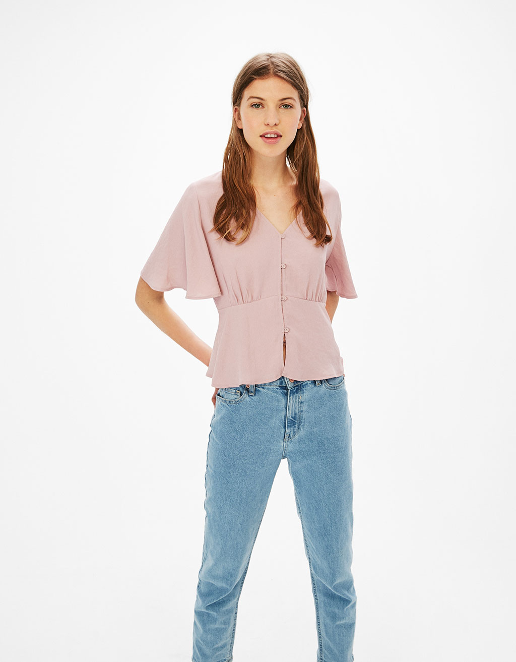 Flowing buttoned blouse