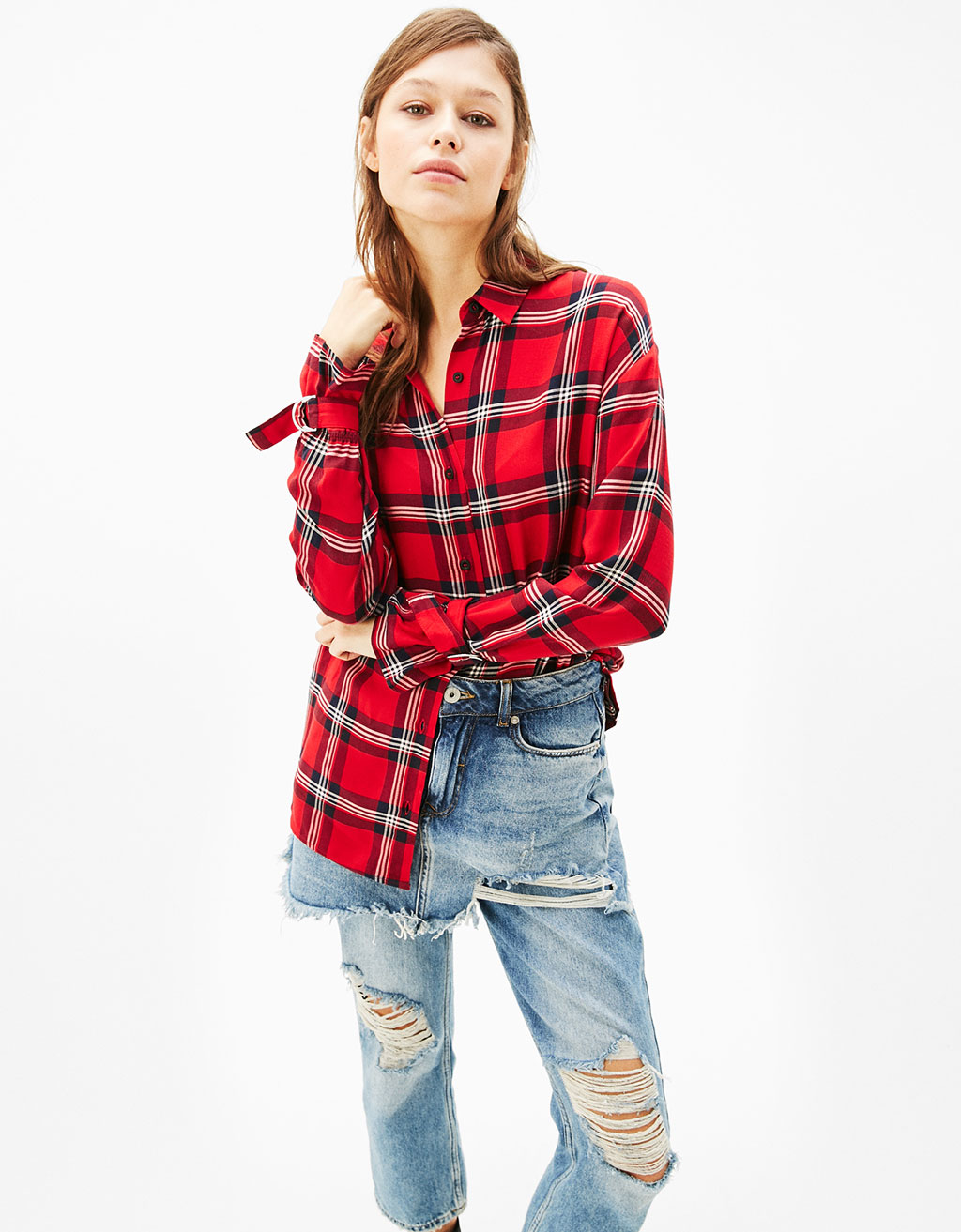 Long fit checked shirt