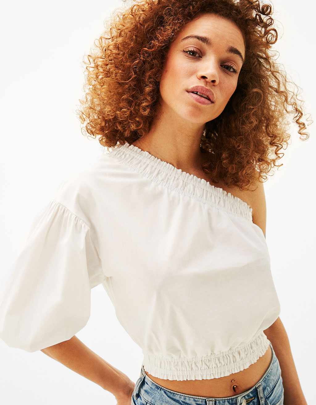 Asymmetric blouse with one full sleeve