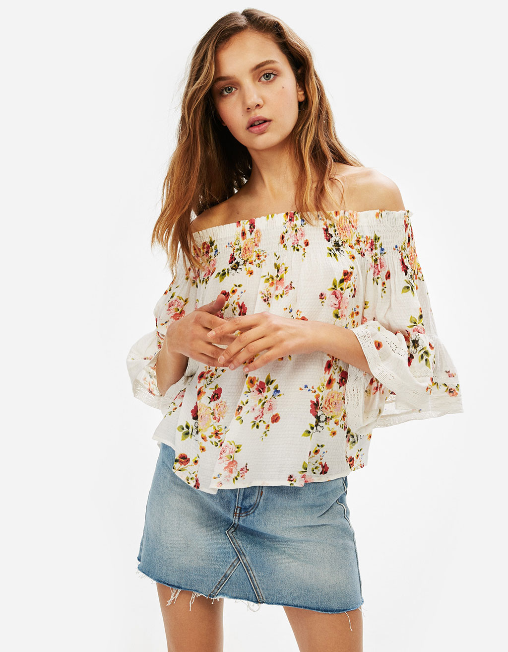 Blouse with 3/4 length sleeves and elastic neckline