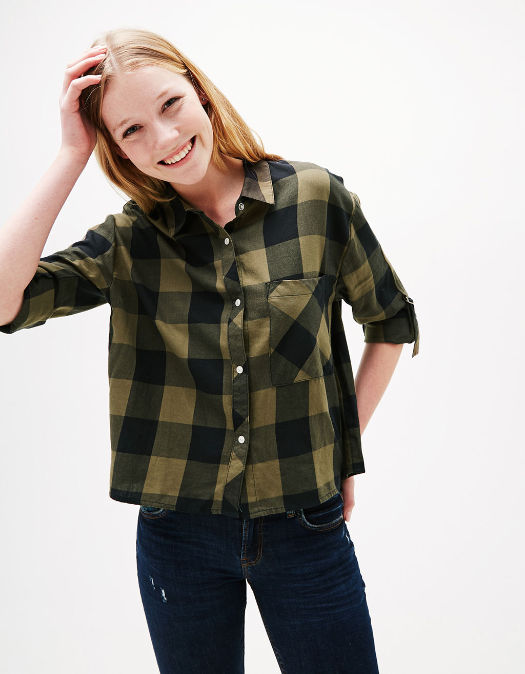 Cropped checked shirt
