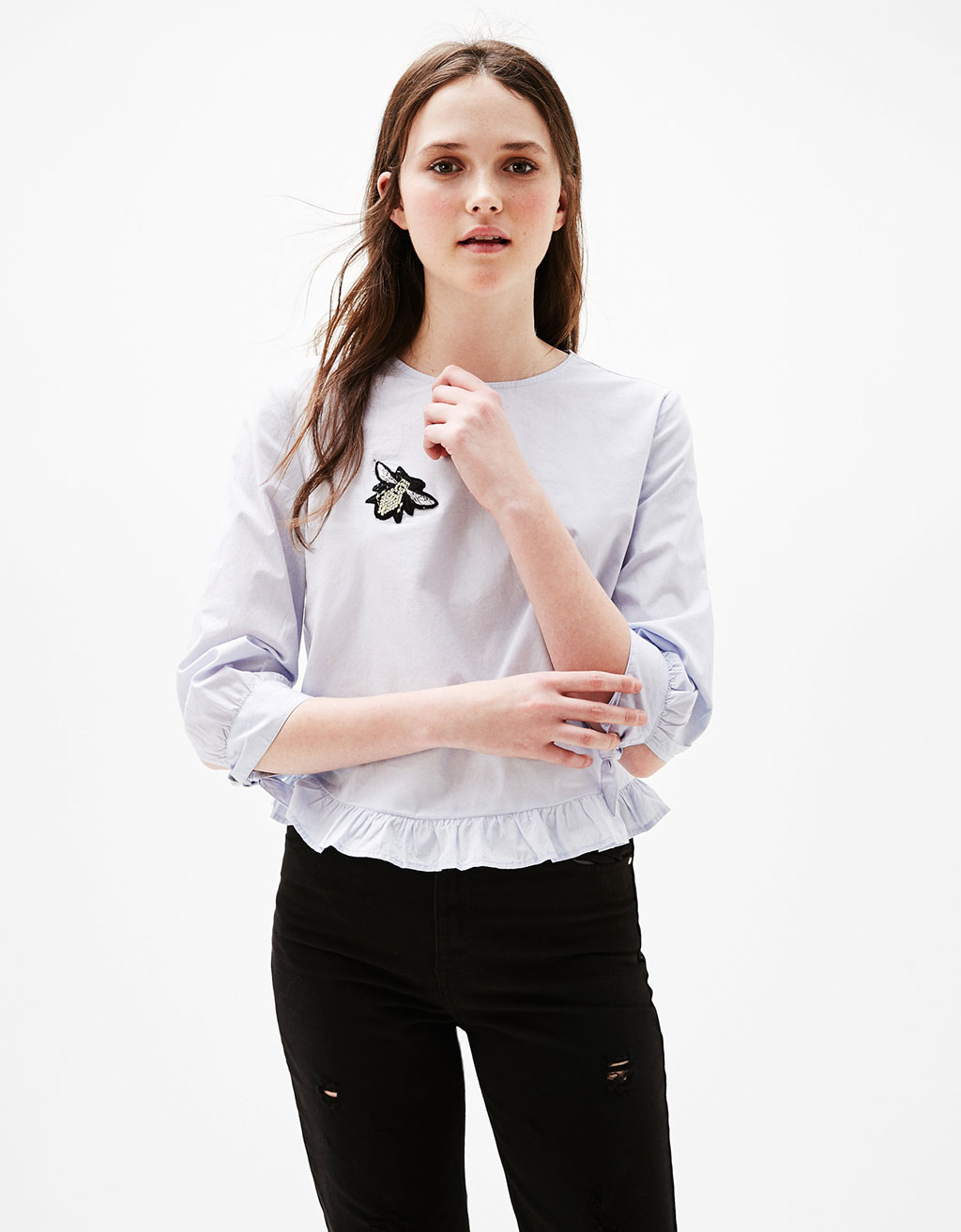 Poplin blouse with 3/4 sleeves and bow