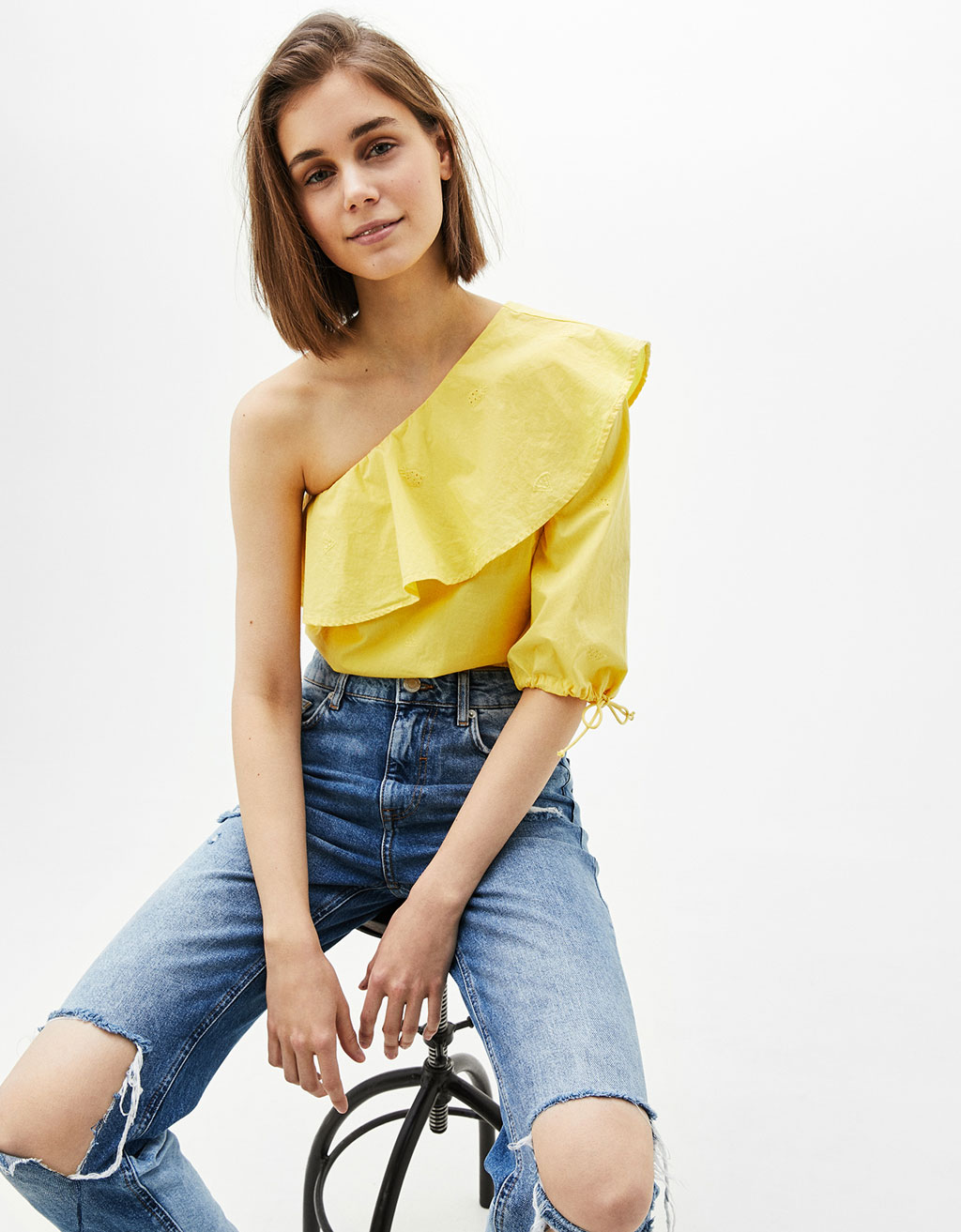 Asymmetric frilled blouse