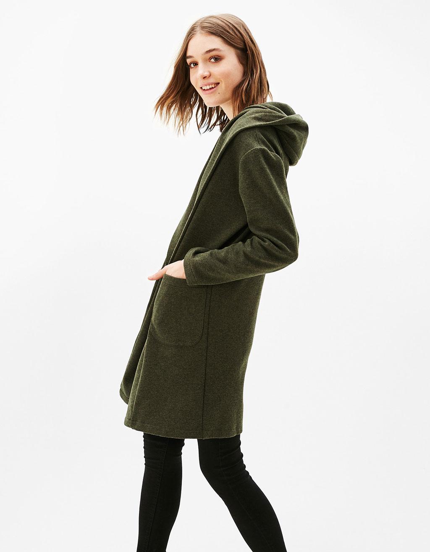 Dlouhá tepláková bunda s kapucí