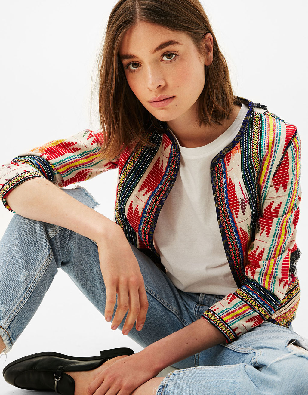 Jacket with tribal details