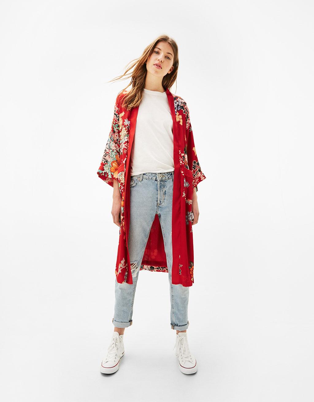 Long oriental print kimono