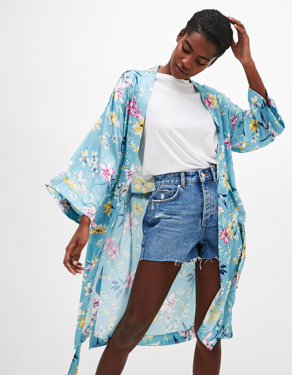 Long dressing gown with floral print