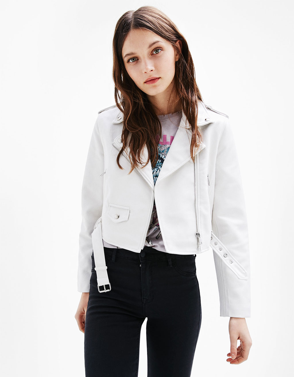Short faux leather biker jacket