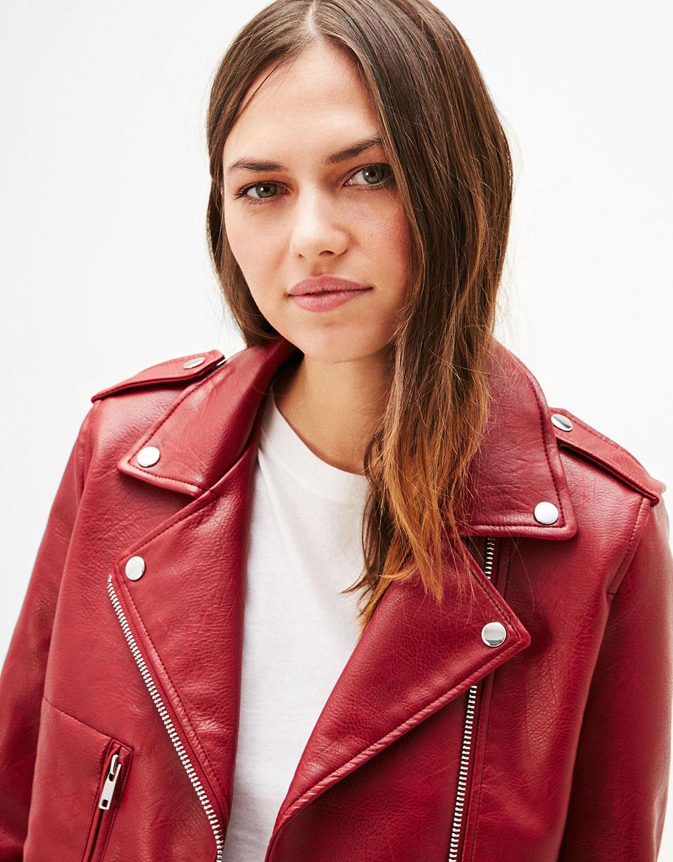 Mākslīgas ādas motociklistu stila jaka
