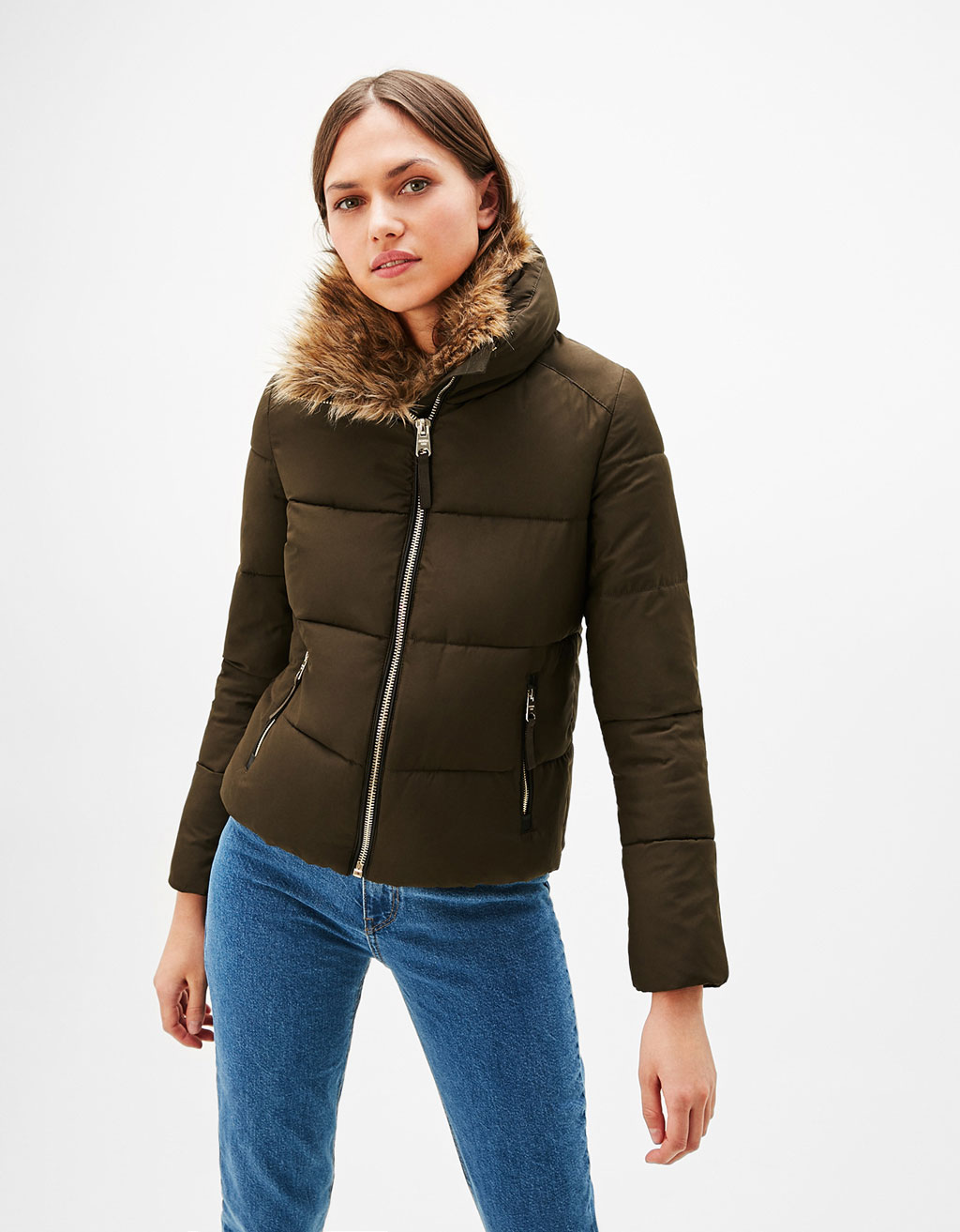 Quilted nylon jacket with funnel collar