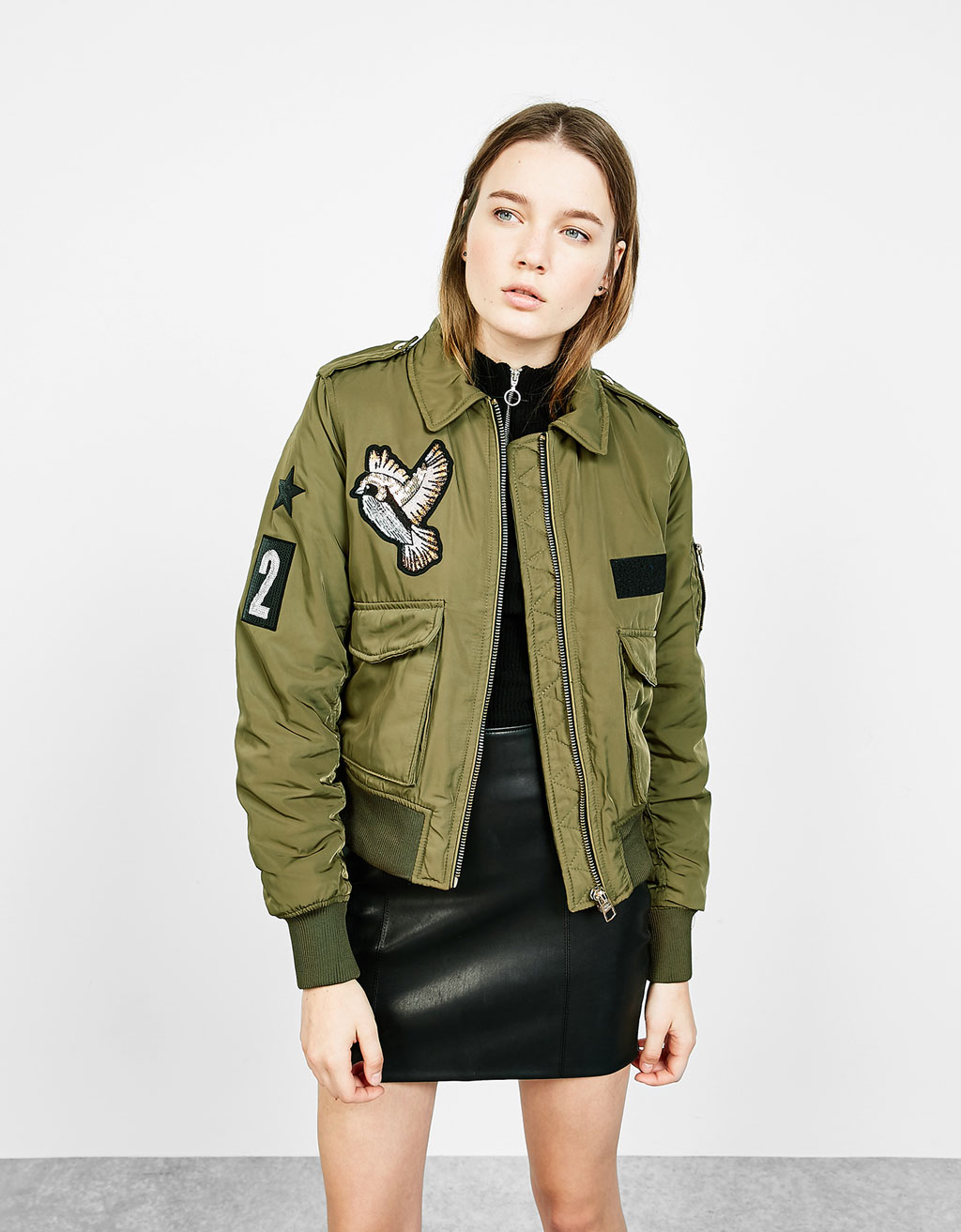 Nylon aviator jacket with patches