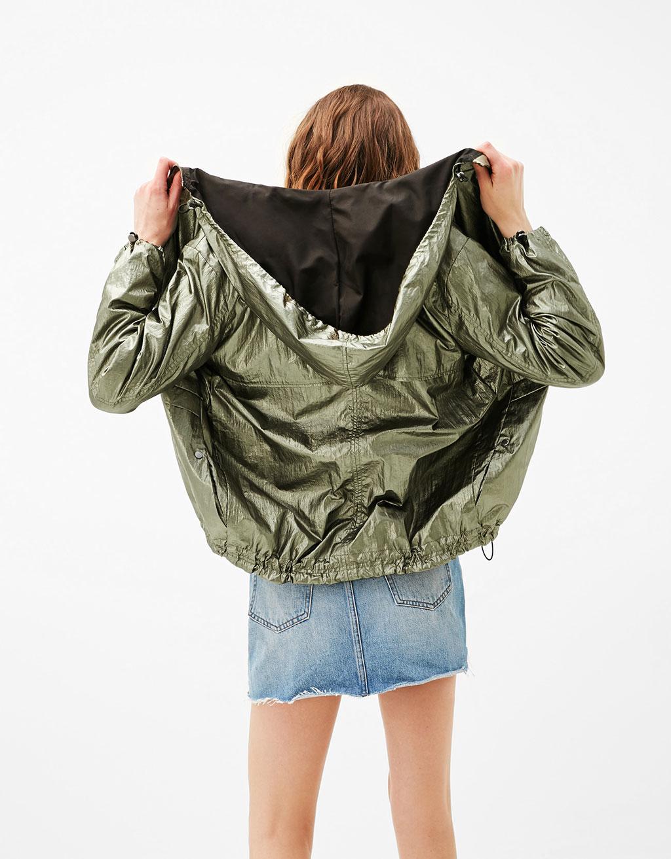 Metallic jacket with hood