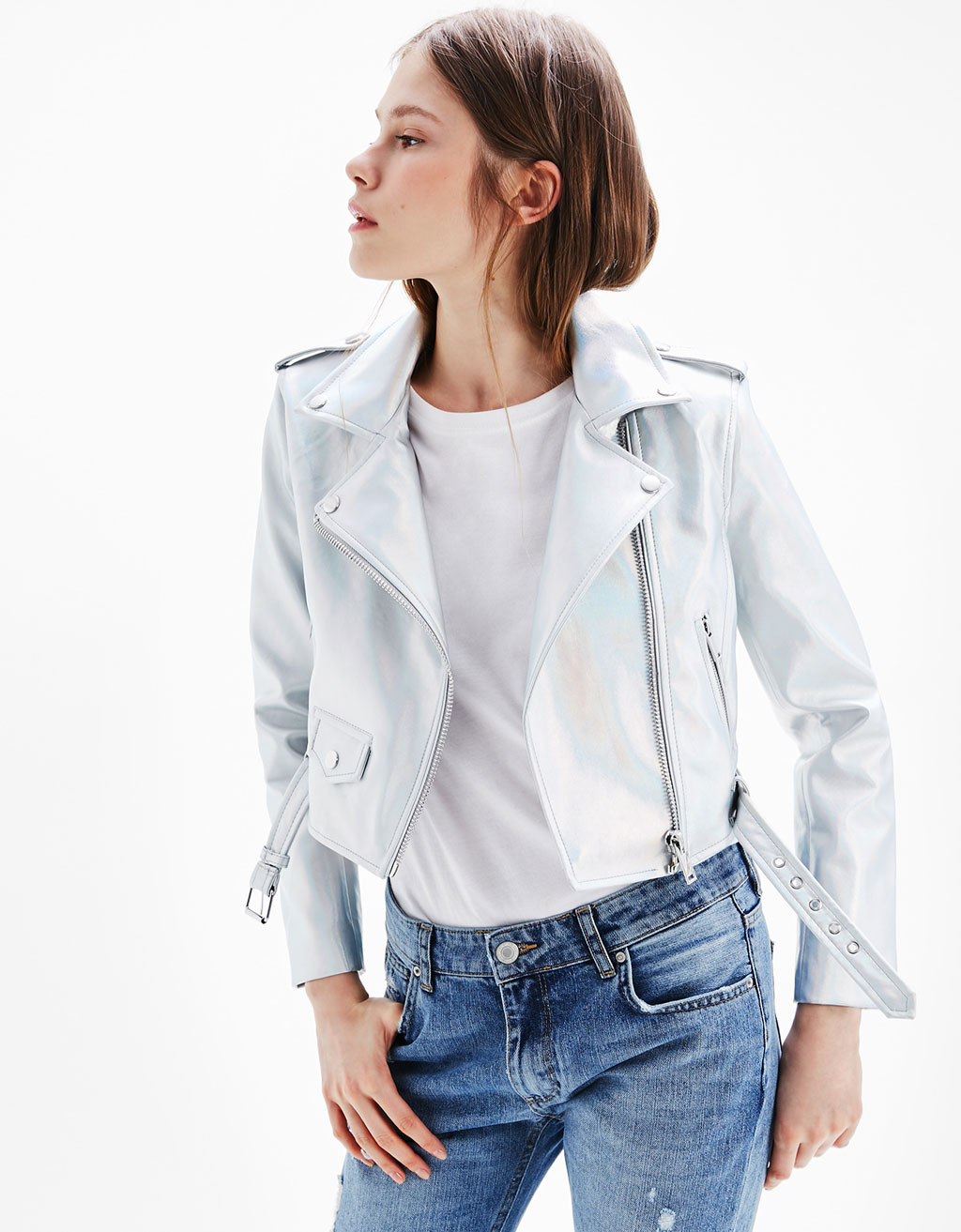 Iridescent biker jacket