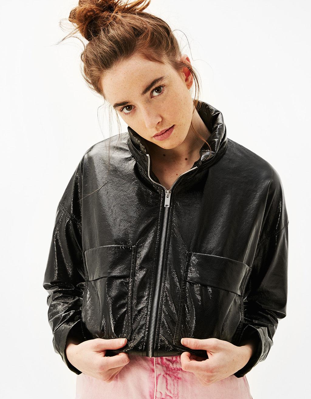 Lakādas jaka ar kapuci