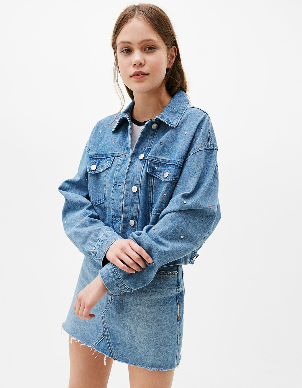 Cropped denim jacket with diamanté detail