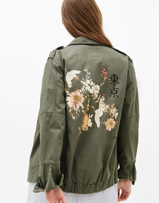 Safari jacket with oriental back print