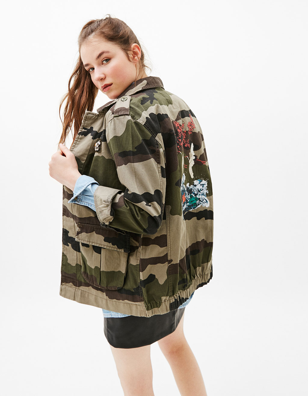 Camouflage safari jacket with oriental print on back