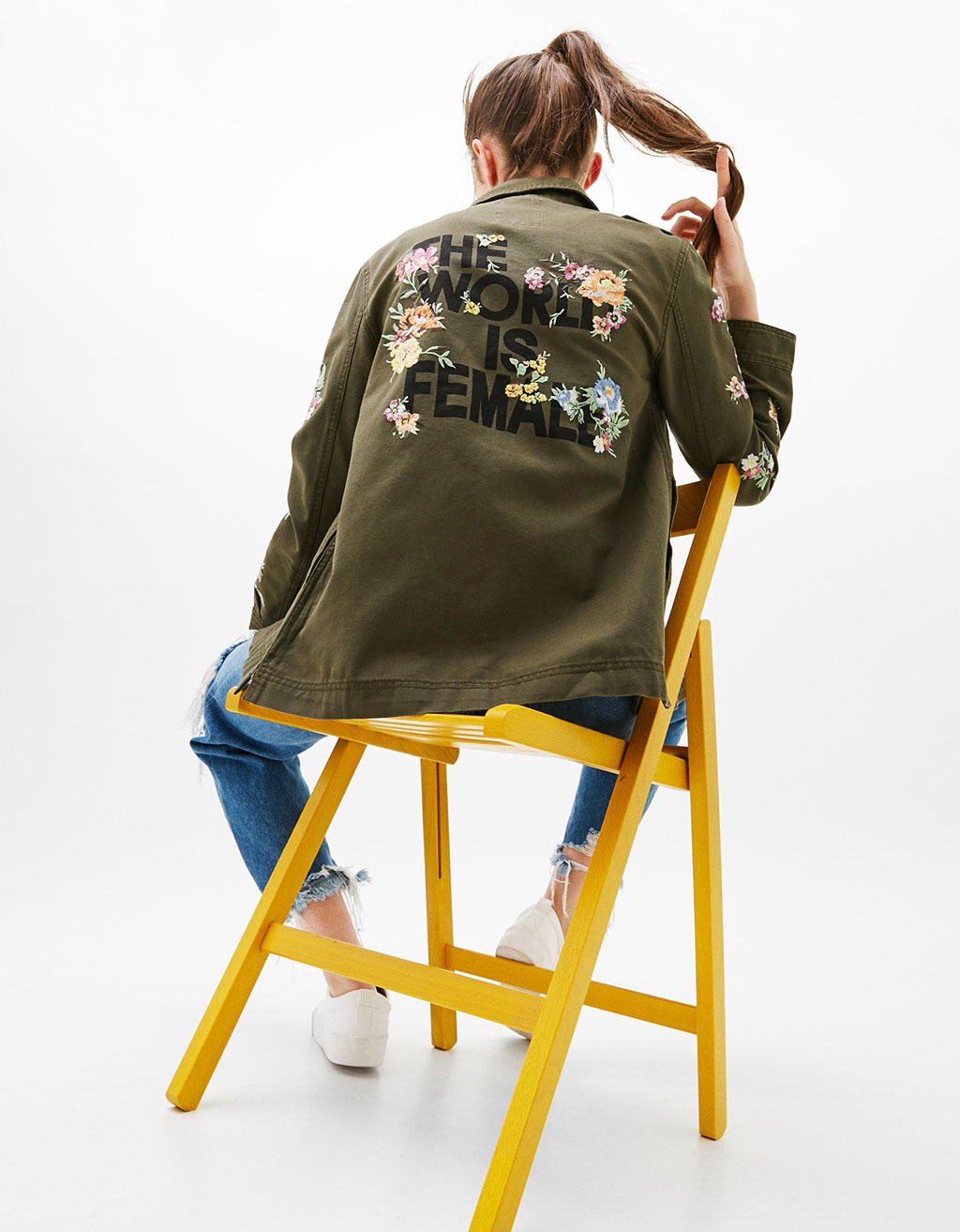Safari jacket with floral embroideries and back print