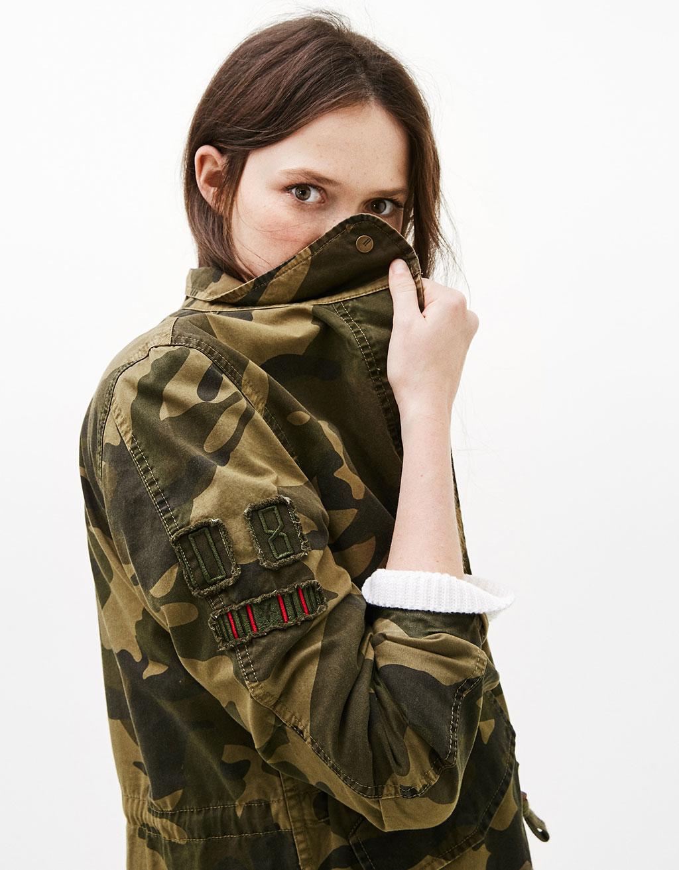 Parka aus Baumwolle mit Camouflageprint