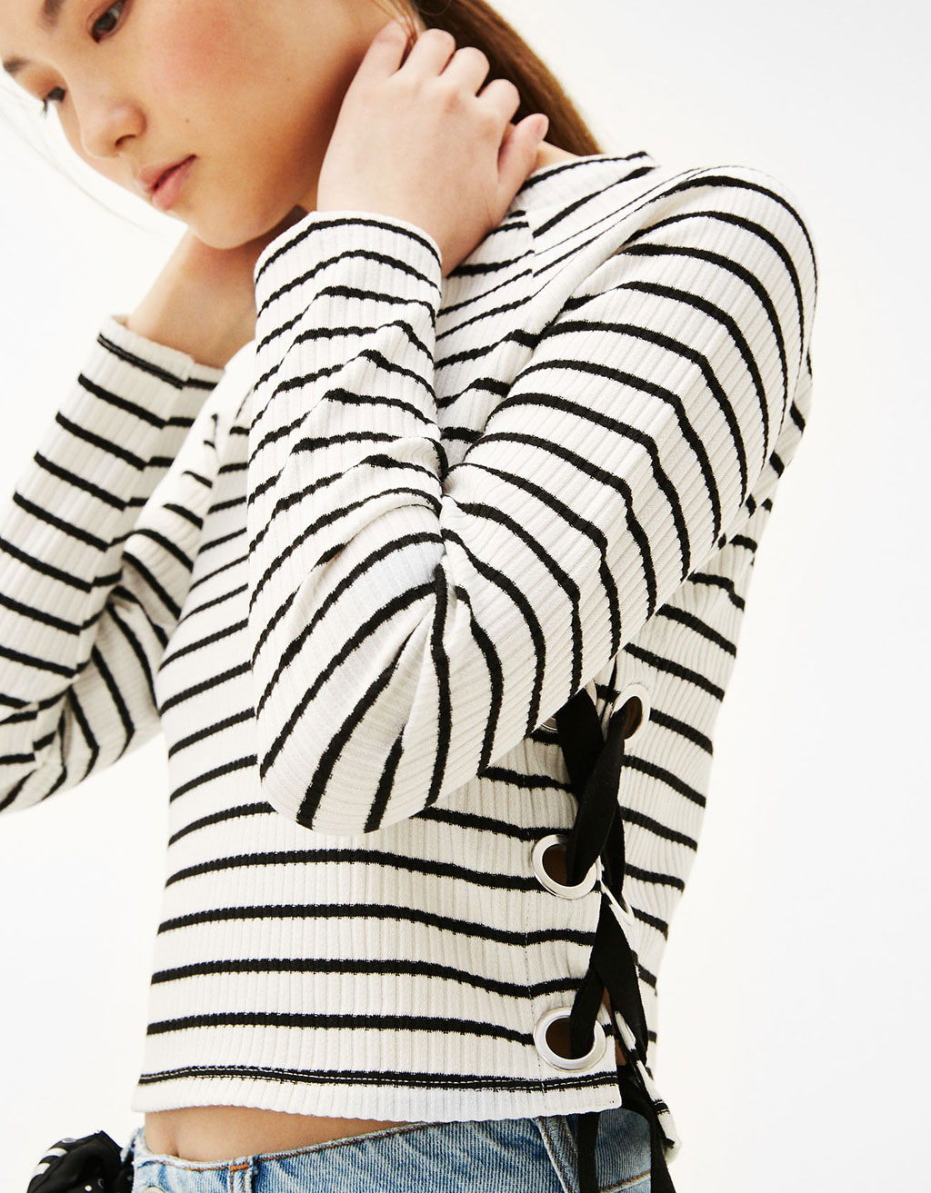 Striped sweater with side ties