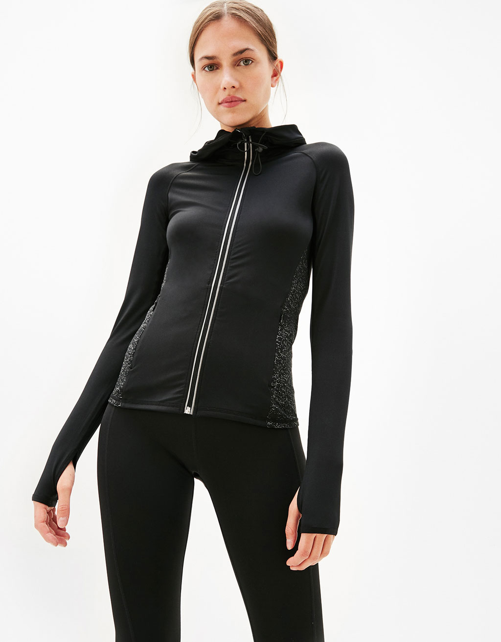 Technical sports jacket with hood and reflective print