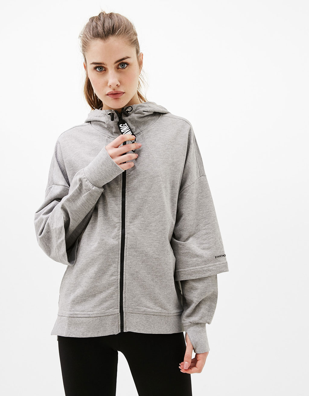 Hooded sports sweatshirt with double sleeve detail