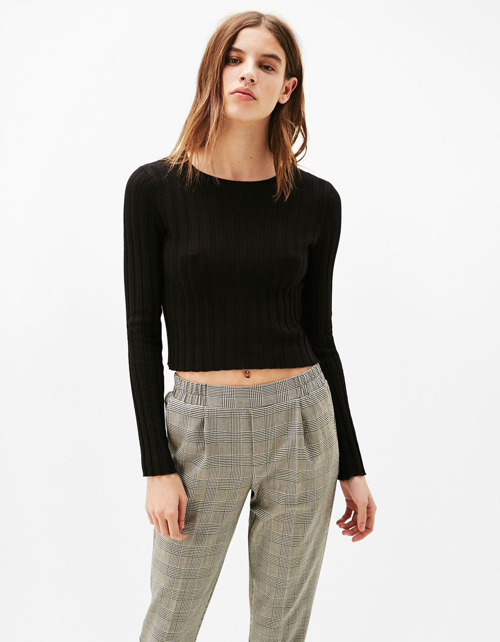 Round neck canalé jumper