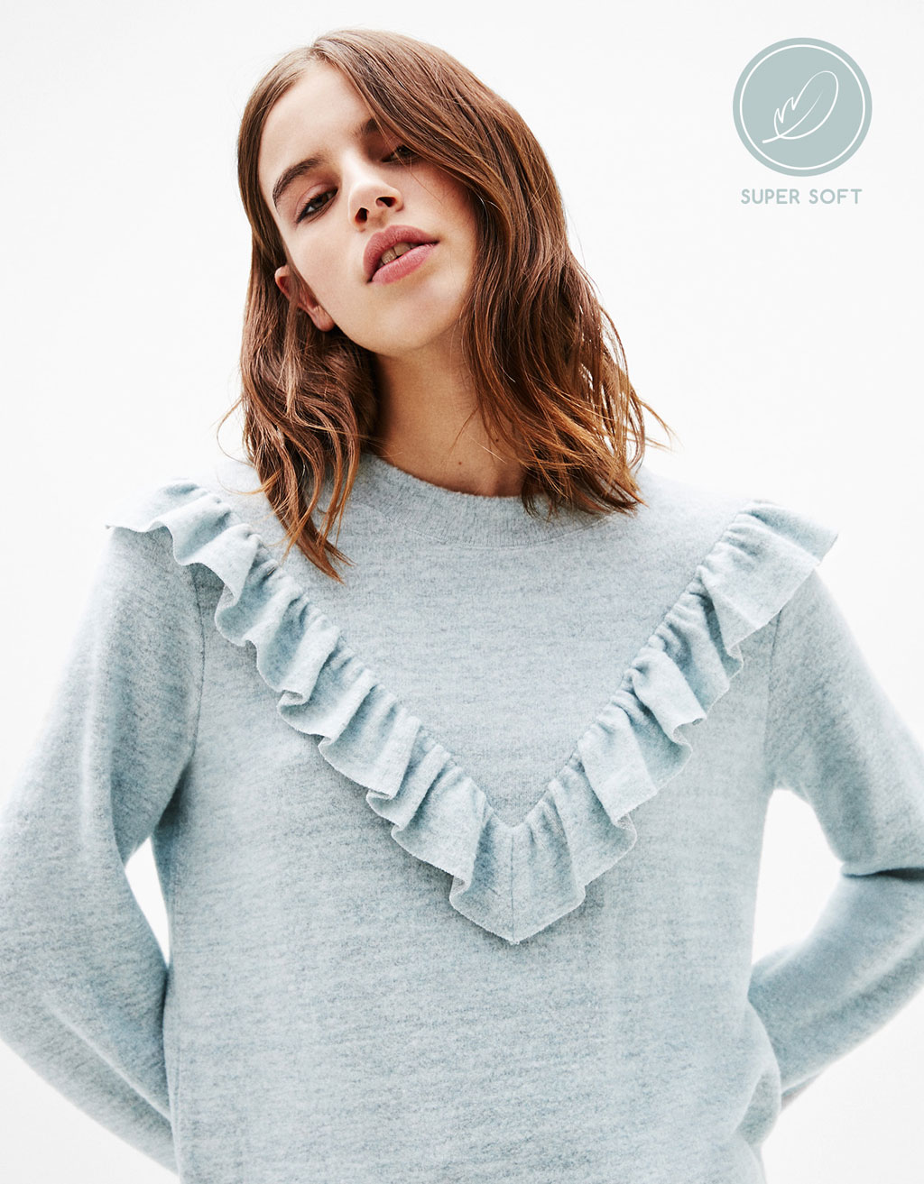 Sweater with front frill