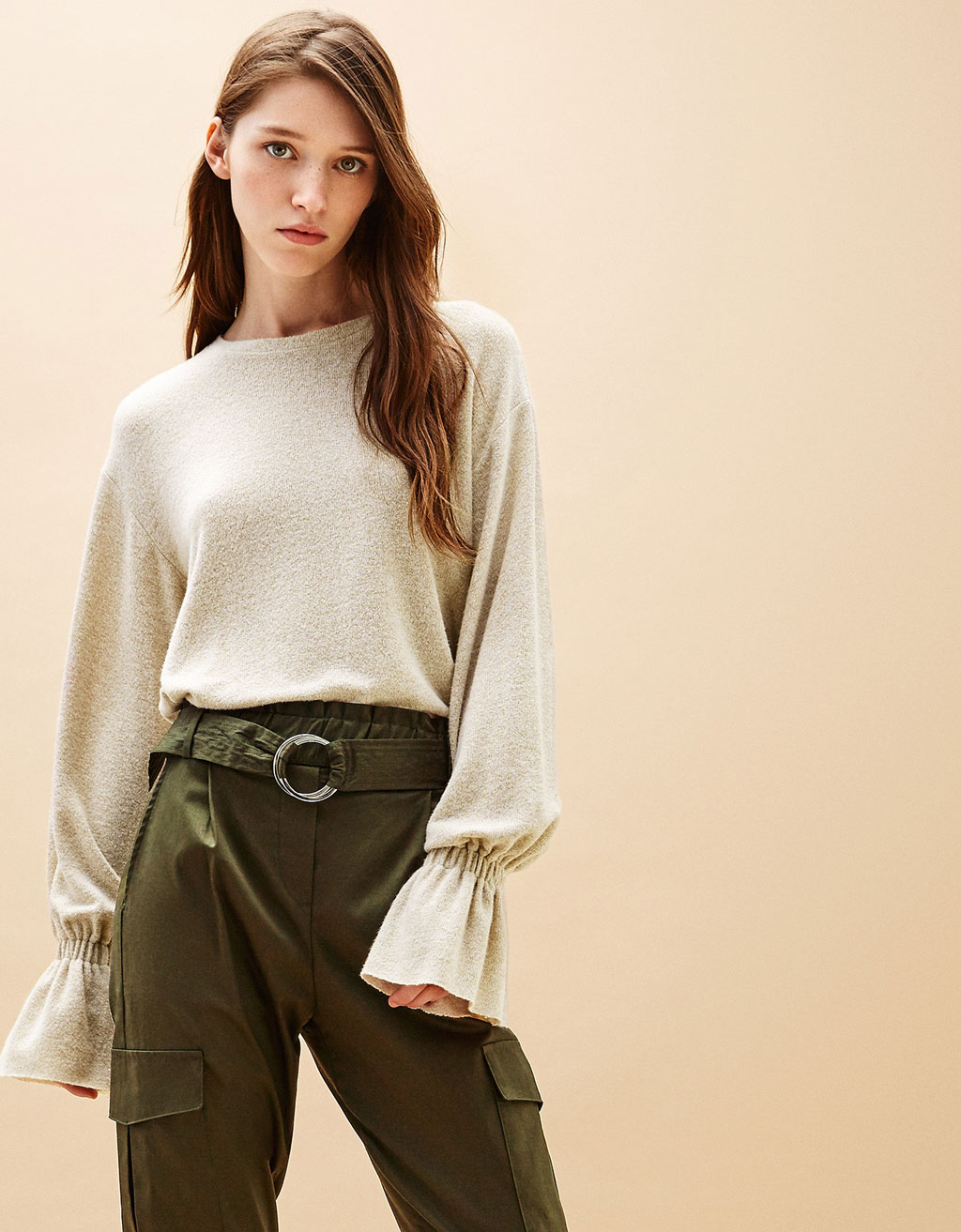 Sweater with gathered sleeves