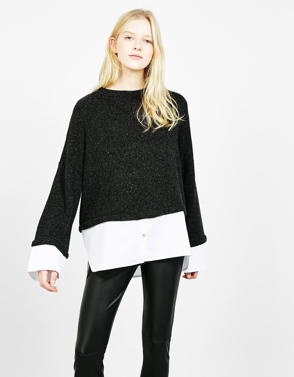 Sweater with shirt hem and sleeves