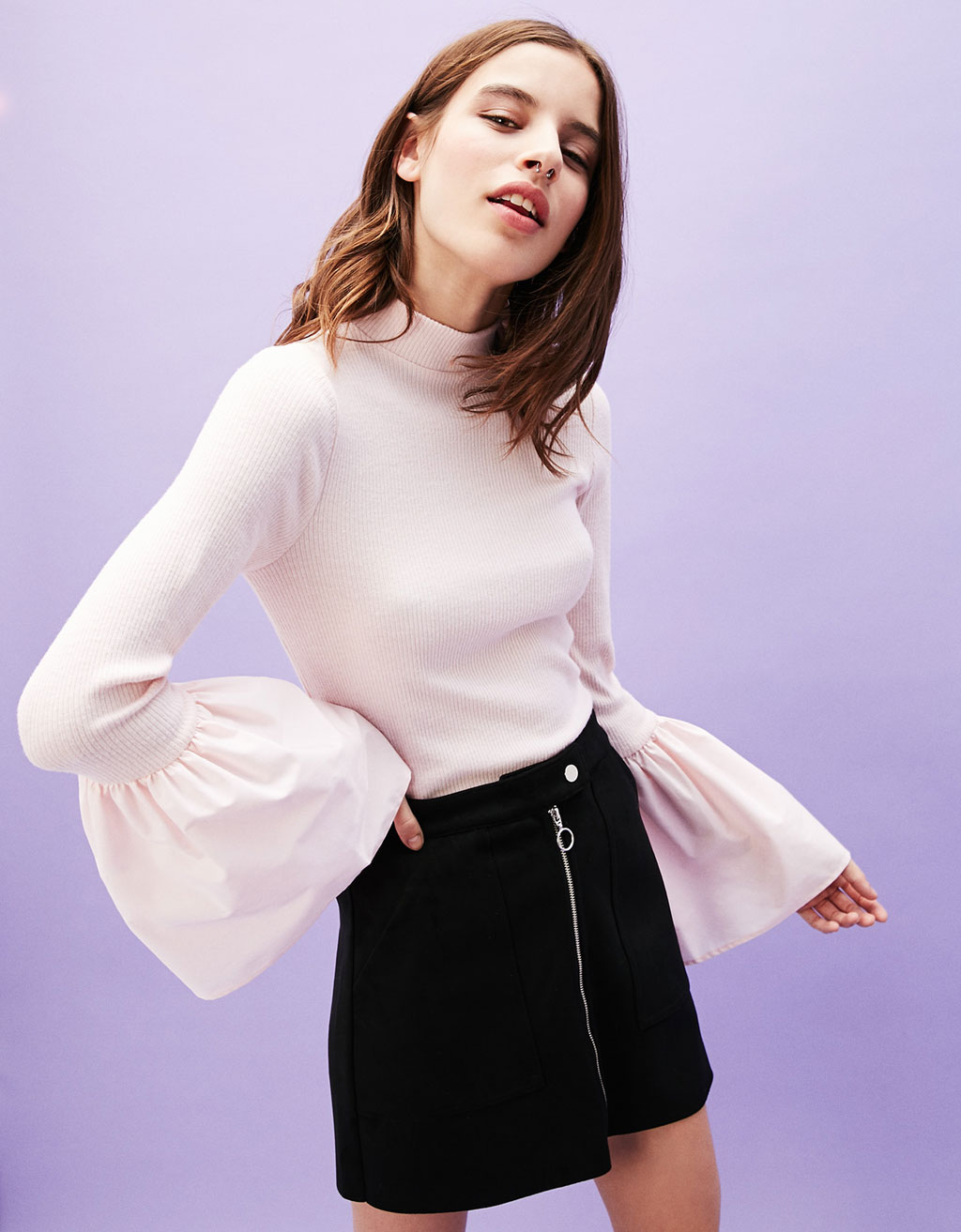 Ribbed sweater with bell sleeves