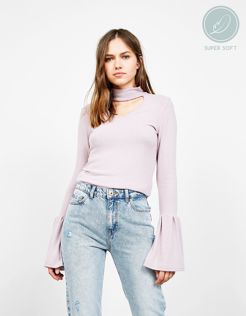 Sweater with choker collar and gathered sleeves
