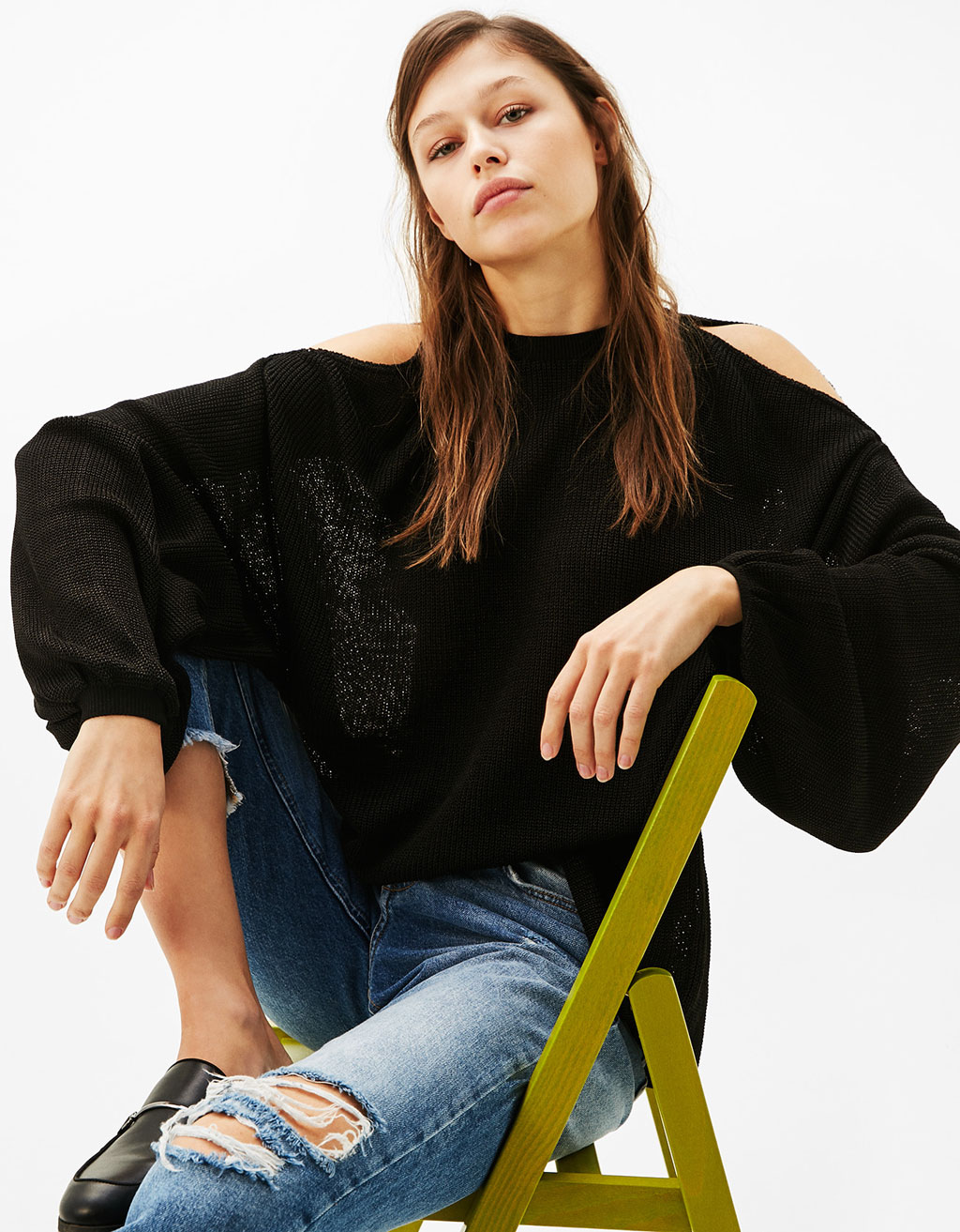 Oversized off-the-shoulder sweater with balloon sleeves