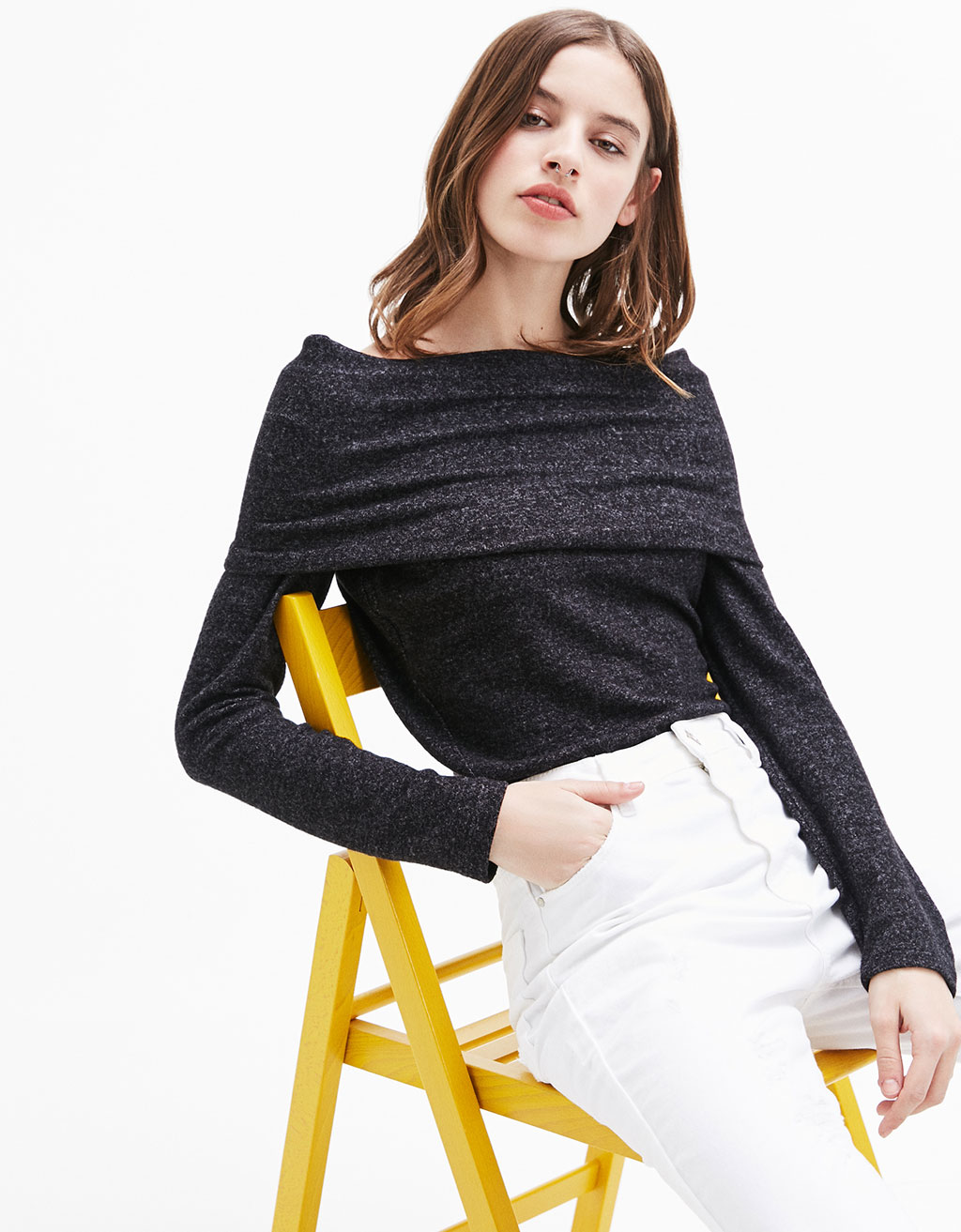 Bardot neckline soft sweater