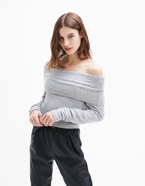 Bardot neckline soft sweater