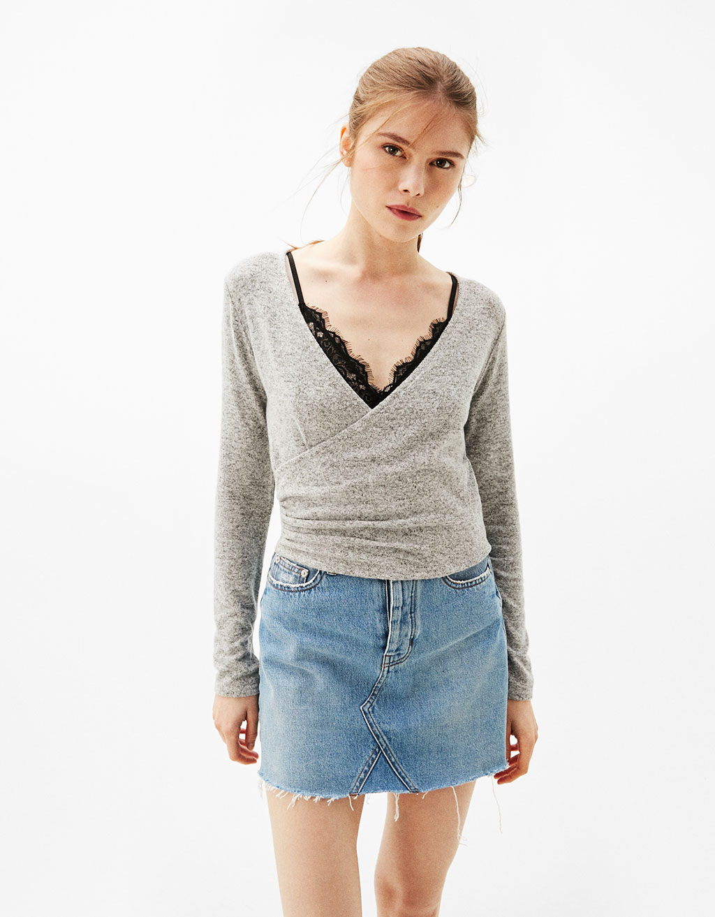 Cropped crossover sweater