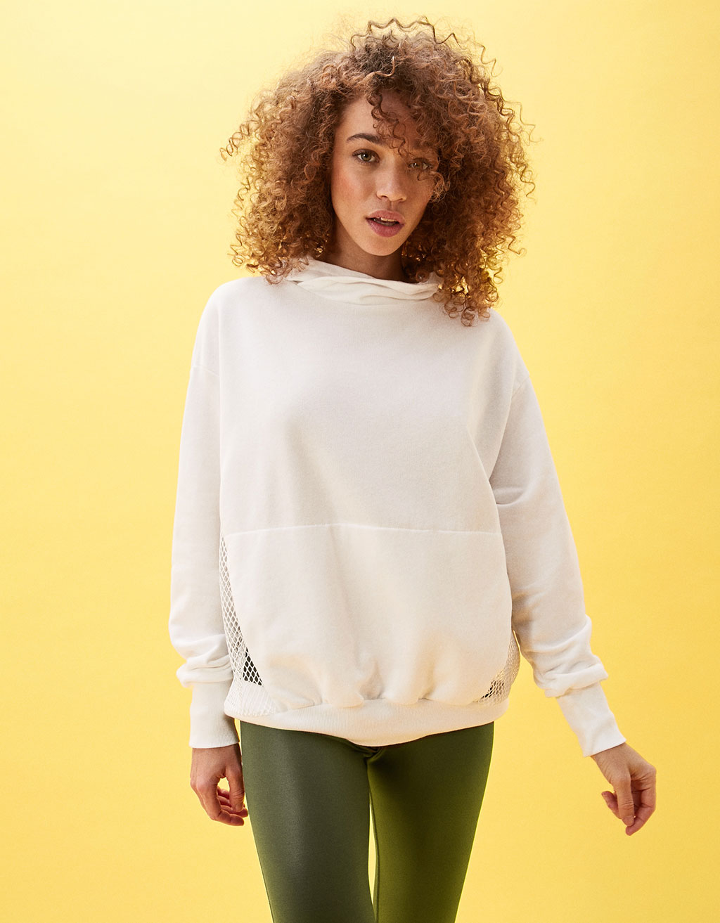 Combined mesh high collar sweatshirt