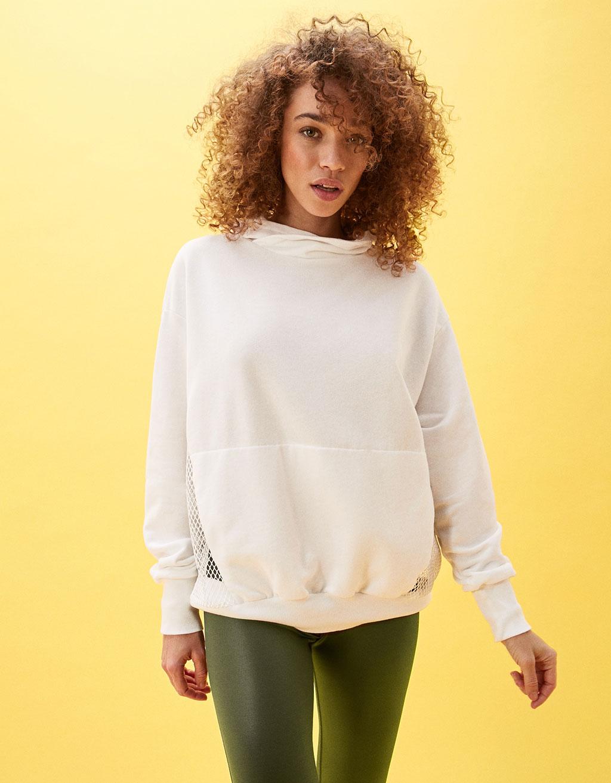 Combined mesh high collar sweatshirt