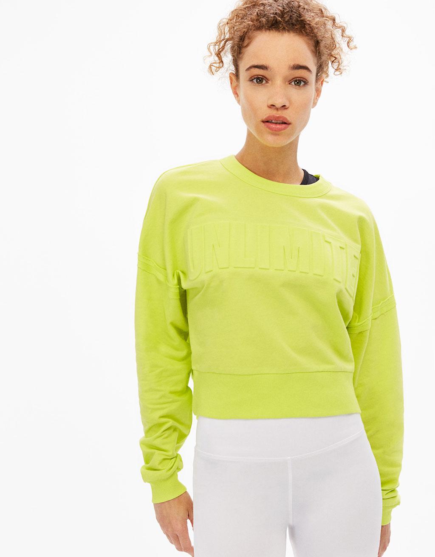 'Unlimited' raised slogan sports sweatshirt