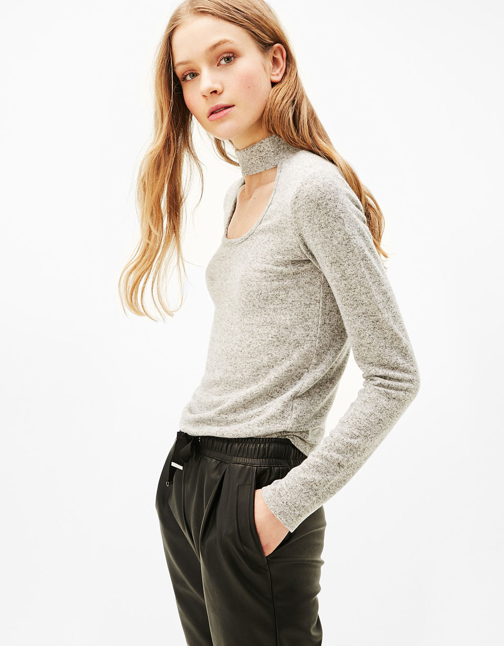 Sweater with choker neckline