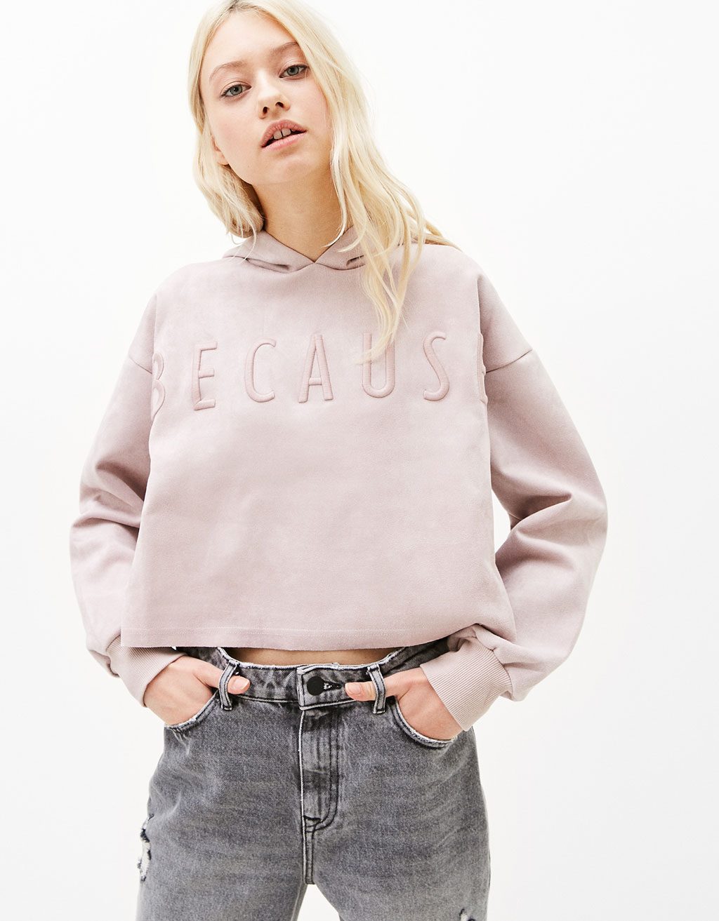 Faux suede hooded sweatshirt with embroidered slogan